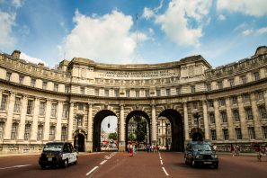 A Photograph Showing Two London Taxis In Front Of Admiralty Arch, Westminster, London.
