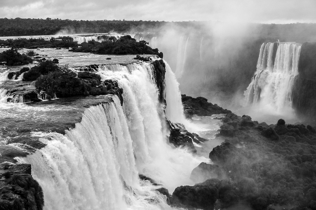 A Black And White Photograph Showing Iguazu Falls Waterfall From Above In Brazil.