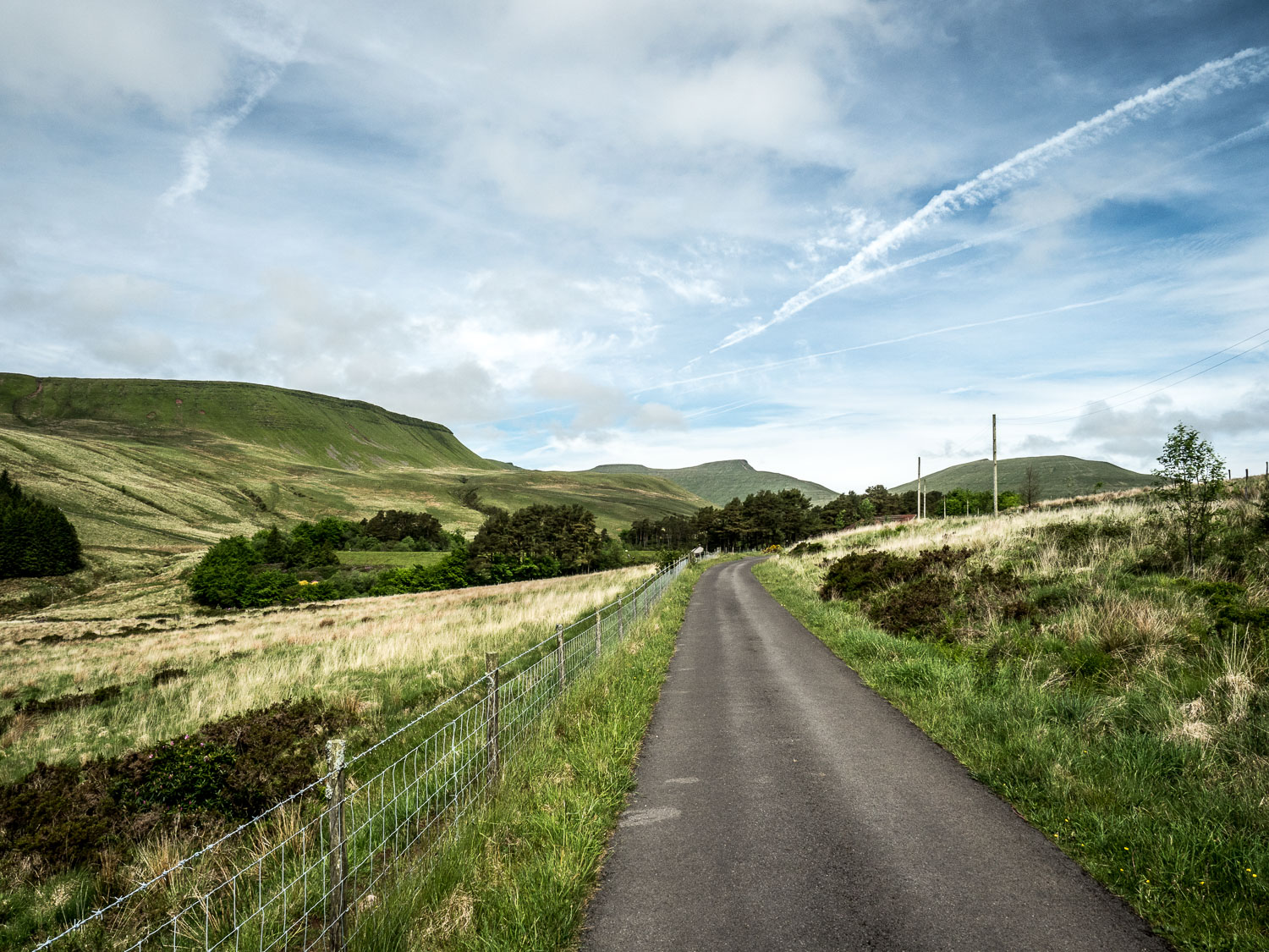 A Photograph Showing The Road Leading To The Trailhead For Pen Y Fan In The Neuadd Valley, Brecon Beacons National Park, Wales.