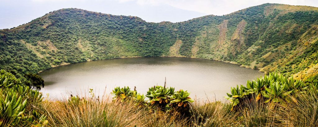 A photograph showing the crater lake of the active volcano Mount Bisoke in the Volcanoes National Park, Virunga Mountains, on the Rwanda-Congo (DRC) border.