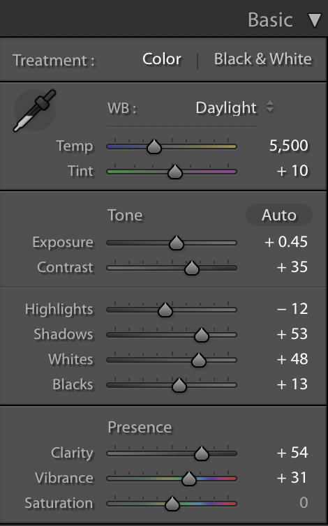 A screenshot of the settings applied to an earlier photograph in Lightroom CC's develop module.