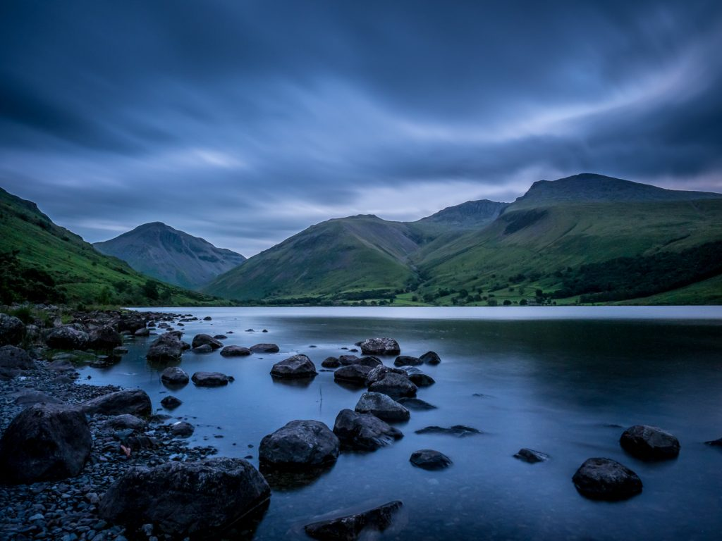 A long exposure photograph at dusk showing the mountains Great Gable, Lingmell and Scafell Pike above Wast Water in Cumbria, from my Lake District photography tour.