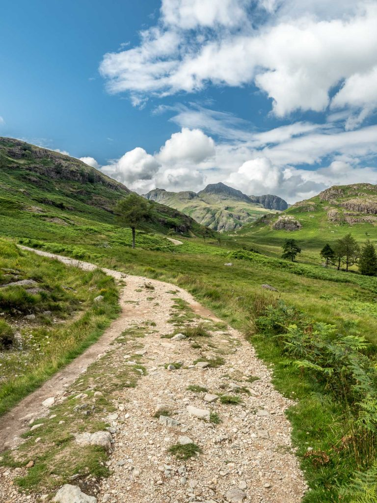 A landscape photograph of a trail heading uphill towards the Langdale Pikes from my Lake District photography tour.