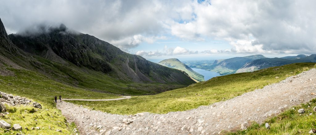 A panoramic photograph of the path up Scafell Pike from Wasdale Head, showing Wast Water in the background, from my Lake District photography tour.