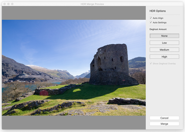 A screenshot of the HDR Photo Merge window in Lightroom Classic CC, showing a preview of my HDR image.