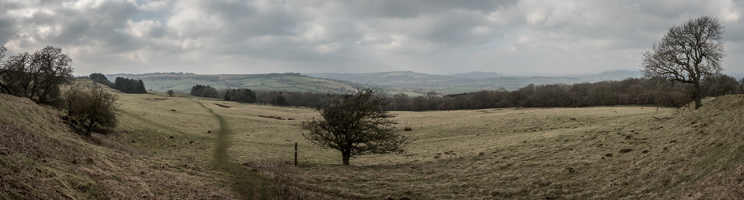A Panoramic Photograph Showing The Trail On The Hillside On A Winter's Day On The Cotswold Way.
