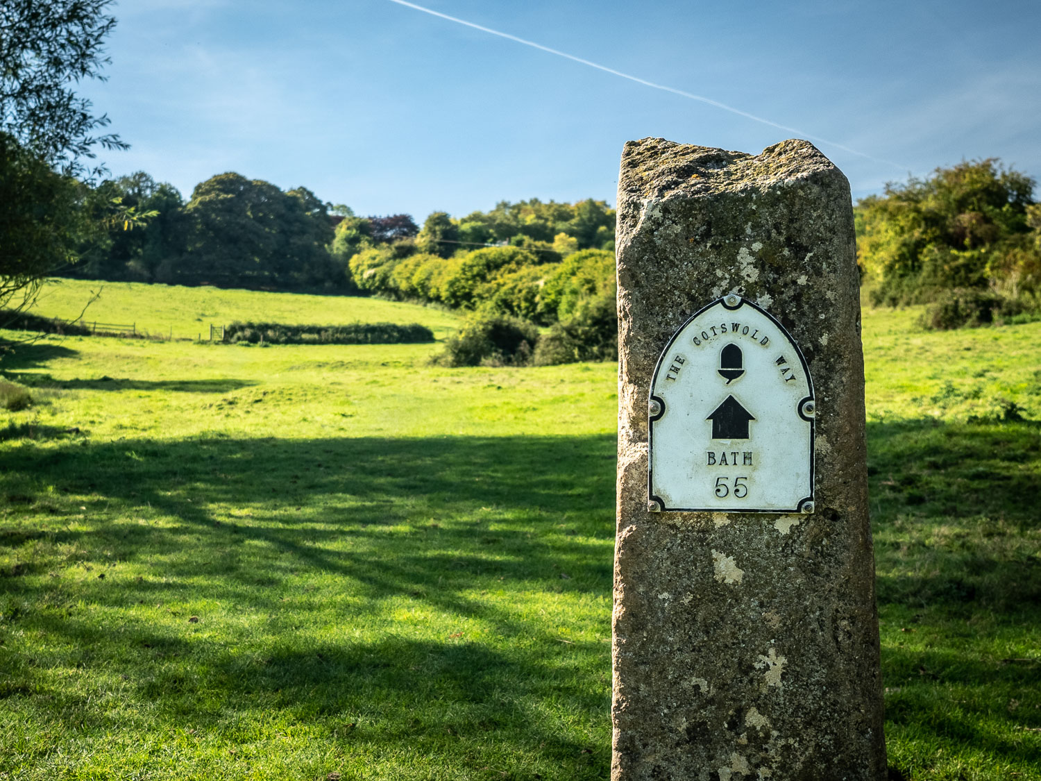 A Photograph Showing The Halfway Milestone On The Cotswold Way, Showing 55 Miles To Bath.