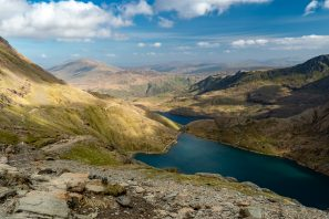 A Landscape Photograph Showing The Miners' Track Up Mount Snowdon In Snowdonia, Wales.
